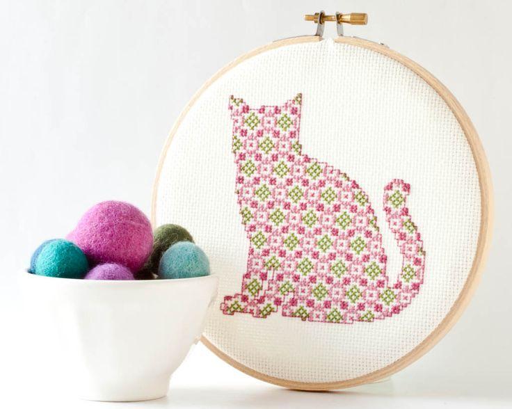 Cross Stitch Pattern PDF - Pretty Kitten in Pink and Green by RedGateStitchery on Etsy https://www.etsy.com/listing/125957572/cross-stitch-pattern-pdf-pretty-kitten