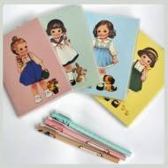 Paper Doll Diary Vintage Girl Notebook (4 Colours)