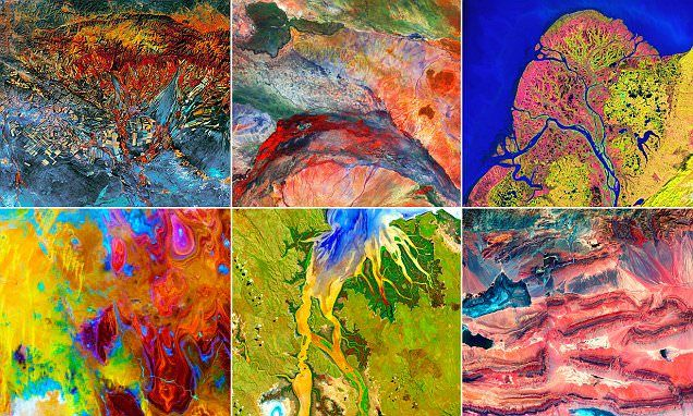 Psychedelic views of natural spectacles from around the world were snapped by specialist observation satellites sent up to orbit by Nasa and the United States Geological Survey.