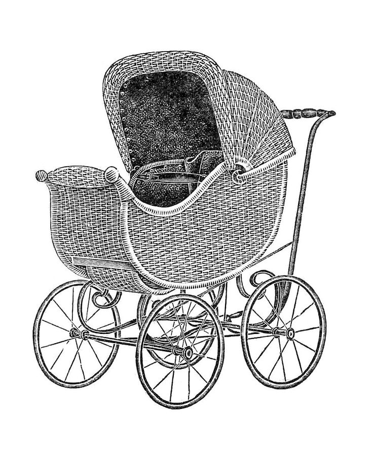 Antique Images: Free Baby Carriage Graphic: Vintage Wicker Baby Carriage