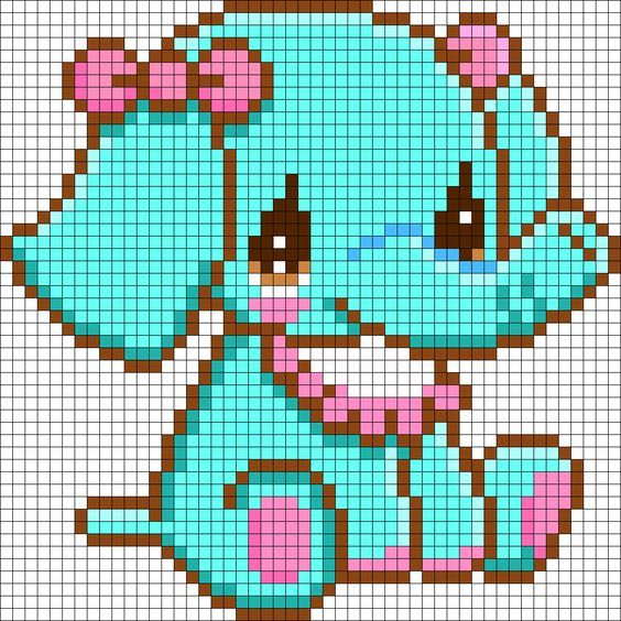 Free Kawaii Elephant Hama Perler Bead Pattern or Cross Stitch Chart: