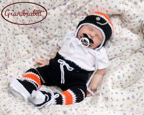 Free Crochet Pattern For Baby Hockey Helmet : BABY HOCKEY HAT Black Orange Hockey, Crochet Baby Hockey ...