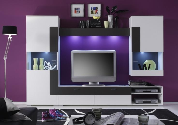 memphis wohnwand weiß abs. anthrazit #modern #wohnzimmer, Wohnzimmer