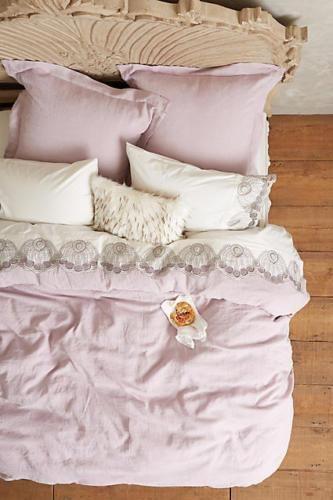 NEW Anthropologie IZZY Lilac Soft Washed Linen Queen Duvet & Standard Shams NIP