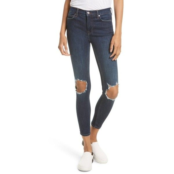 Women's Free People High Rise Busted Knee Skinny Jeans ($78) ❤ liked on Polyvore featuring jeans, dark blue, ripped skinny jeans, white high waisted jeans, high-waisted skinny jeans, high waisted ripped jeans and high waisted white skinny jeans