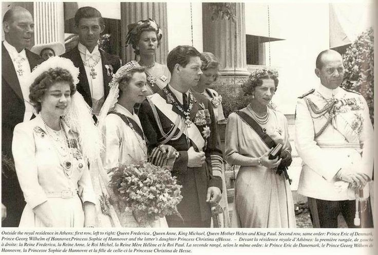 Wedding of King Michael of Romania and Anne of Bourbon-Parma. L to R: Queen Frederika, bride and groom, Queen Helen of Romamia, King Paul of Greece.