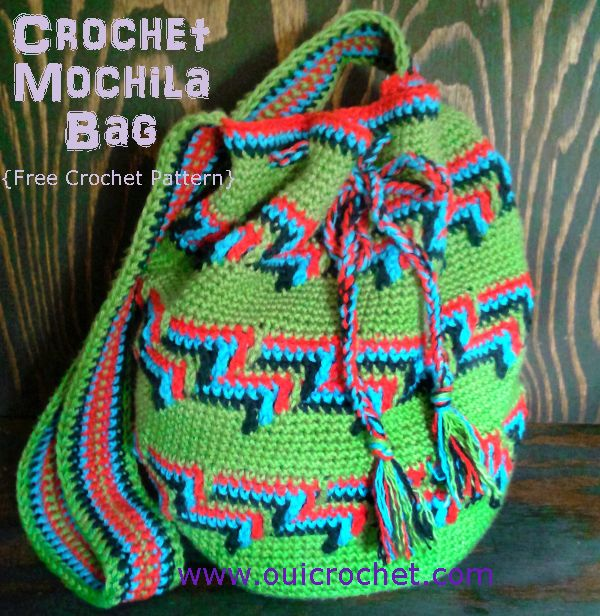 Colorful Mochila Bag Crochet Pattern | Love how colorful this crochet bag is! You can store everything you need for a day at the beach in this bag.