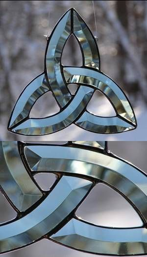 Don't like bevel--looks too modern  Trinity Knot Stained Glass Art (also known as the Celtic or Irish Love Knot)