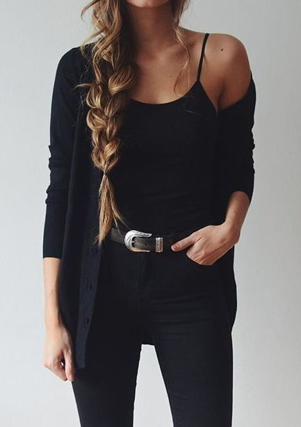 All black casual fall outfit
