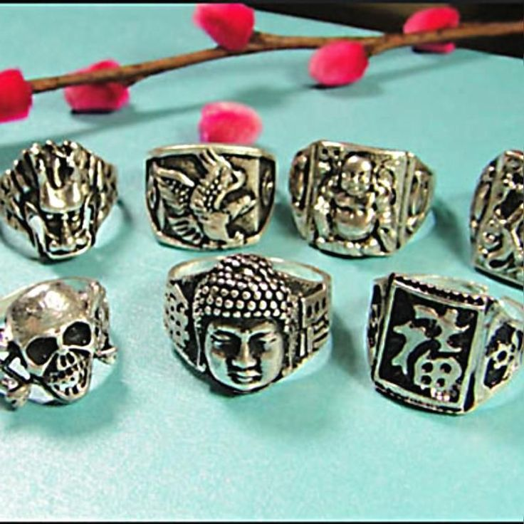 40Pcs Vintage Tibet Silver Rings Multi-Style Men Wholesale Jewelry Free Shipping
