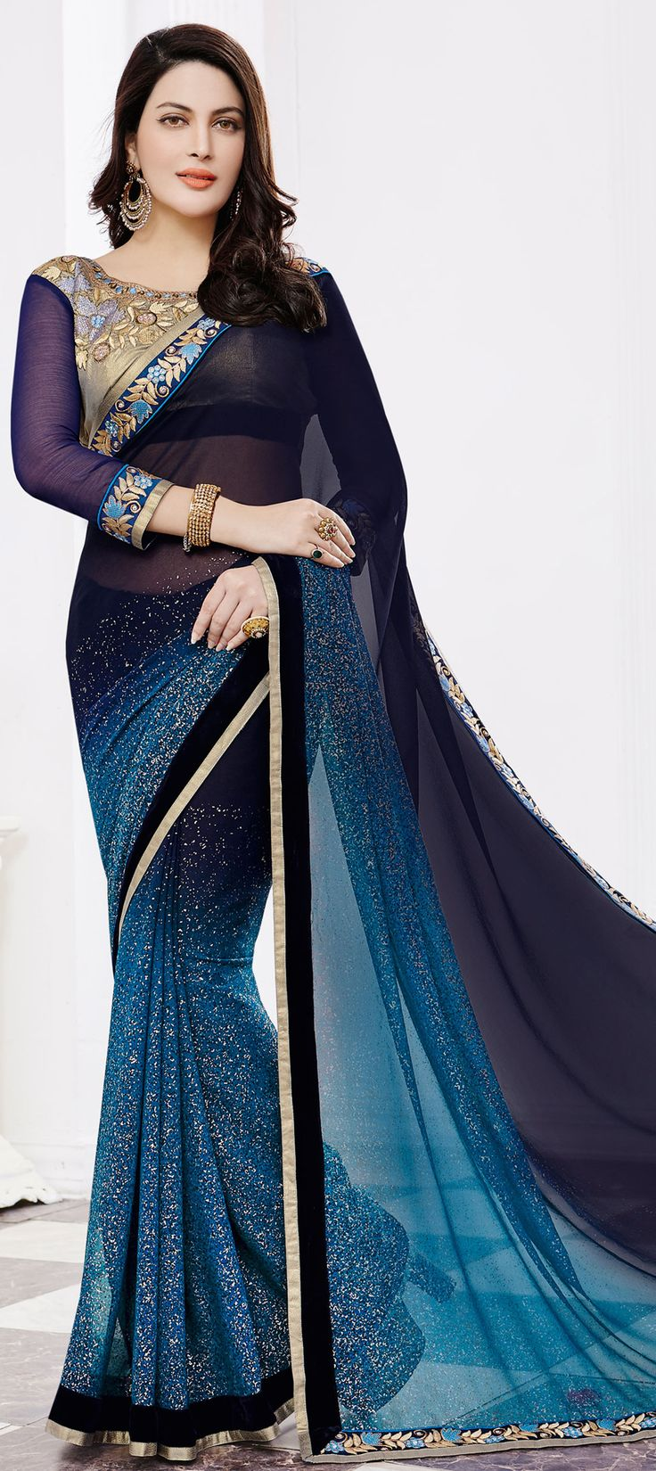 181460: Blue color family Embroidered Sarees,Party Wear Sarees with matching unstitched blouse.
