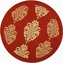 Indoor/ Outdoor St. Martin Red/ Natural Rug (6'7 Round) | Overstock.com Shopping - The Best Deals on Round/Oval/Square