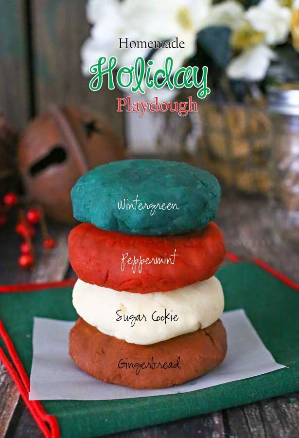 Homemade gifts like this Homemade Holiday Playdough with scents like gingerbread, sugar cookie & peppermint are so easy to make. on kleinworthco.com