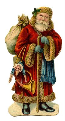 Victorian Christmas Clip Art - Old World Santa - The Graphics Fairy