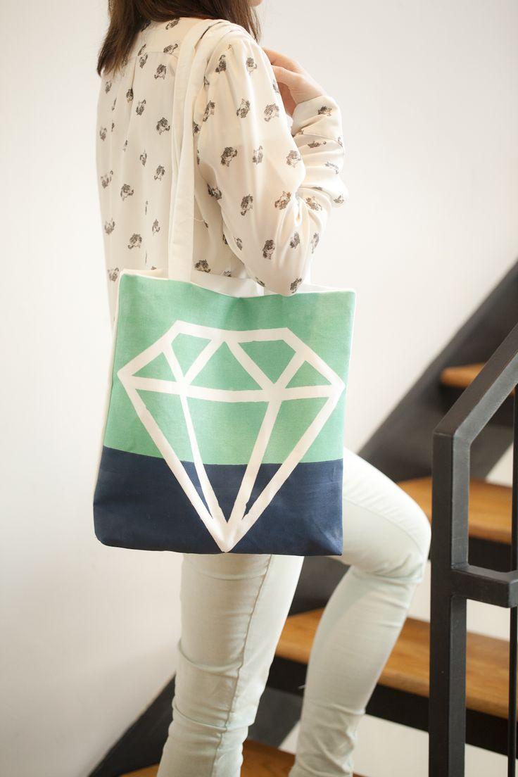 DIY Diamond Tote Bag   Whimseybox