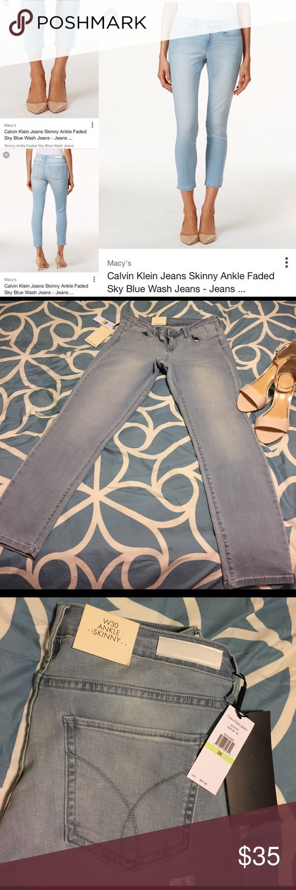 🔥SALE🔥NWT Calvin Klein ankle skinny jeans Beautiful jeans! 💖 Color: faded sky ✨ Calvin Klein Jeans Jeans Ankle & Cropped
