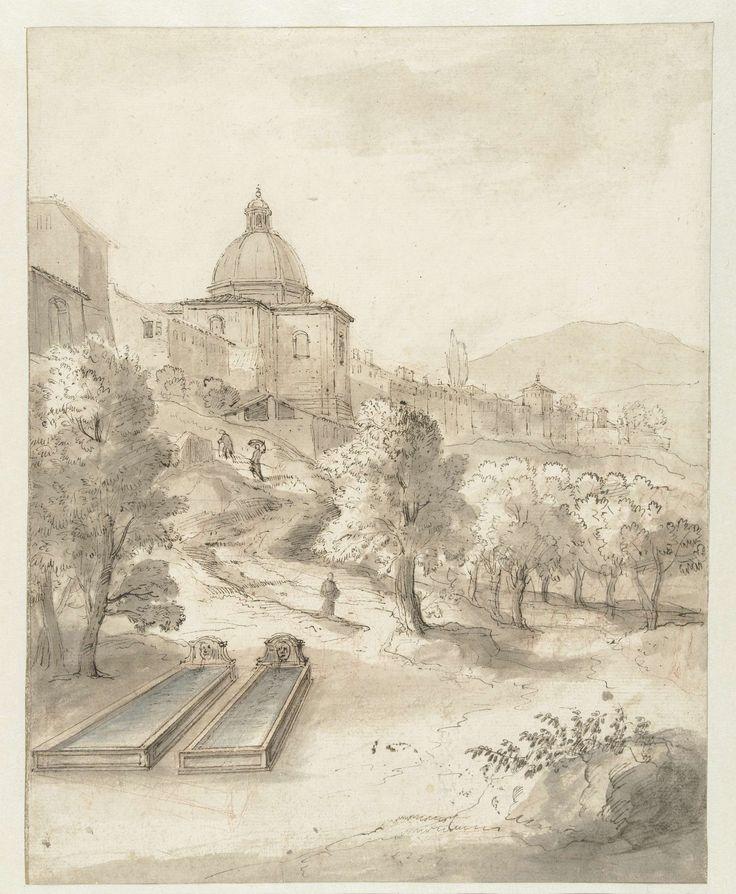 Italiaans landschap met een stad op een heuvel, Caspar van Wittel, 1663 - 1736
