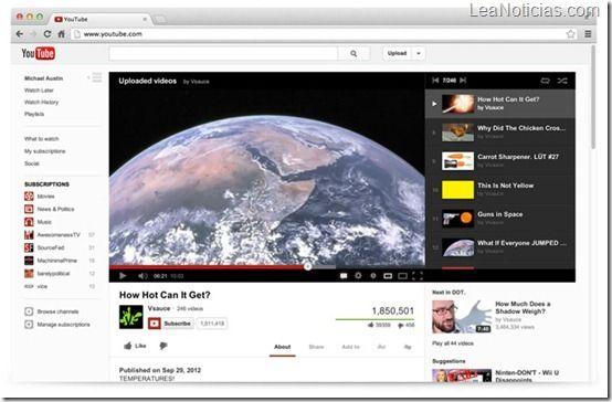 YouTube estrena rediseño más simple y funcional - http://www.leanoticias.com/2012/12/07/youtube-estrena-rediseno-mas-simple-y-funcional/