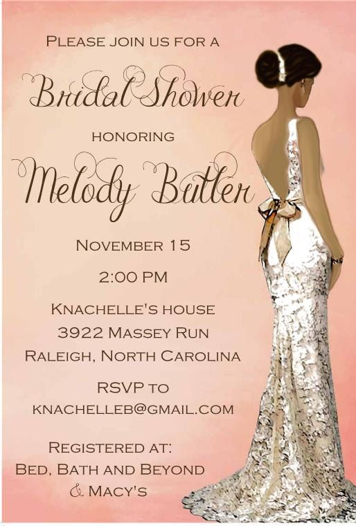 Elegant African American Bridal Shower Invitation by RoostPaperie