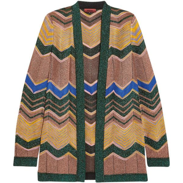 Missoni Metallic crochet-knit cardigan (£390) ❤ liked on Polyvore featuring tops, cardigans, missoni, multi color cardigan, cami top, green cami, missoni cardigan and crochet cardigans