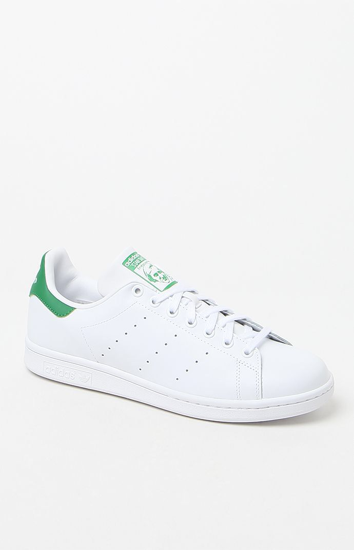 Hooked on Stan Smith White & Green Shoes that I found on the PacSun App