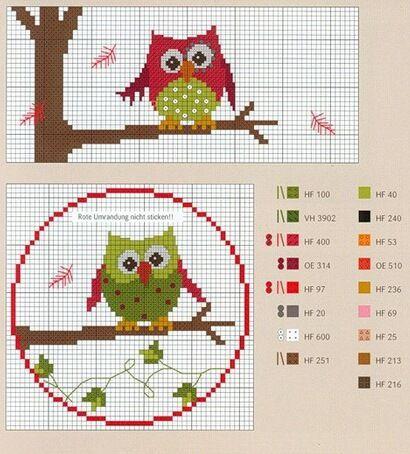 140 best Chouette-great-Oiseaux-bird-Point de croix-cross stitch images on Pinterest   Cross ...