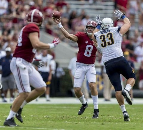Alabama quarterback Blake Barnett (8) throws to Alabama tight end Hale Hentges (84) during the second half of Alabama's football game with Kent State, Saturday, Sept. 24, 2016, at Bryant-Denny Stadium in Tuscaloosa, Ala. Vasha Hunt/vhunt@al.com Alabama 48 Kent State 0 #Alabama #RollTide #Bama #BuiltByBama #RTR #CrimsonTide #RammerJammer