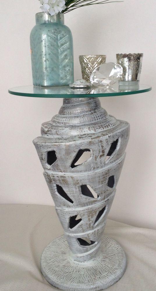 Retro Design Beistelltisch Metall Glas Couch Nacht Tisch Muschel silber weiß