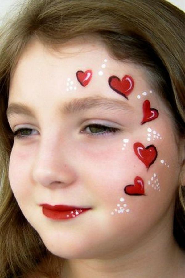 Red Heart Face Painting. Cool Face Painting Ideas For Kids, which transform the faces of little ones without requiring professional quality painting skills. http://hative.com/cool-face-painting-ideas-for-kids/