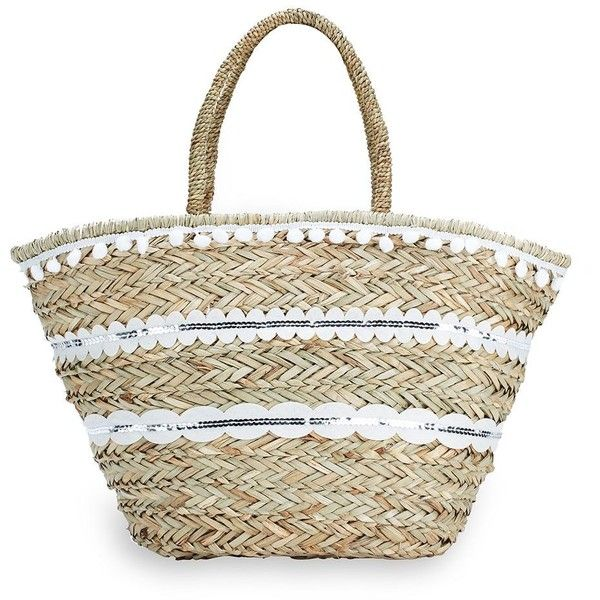 La Sera Capelli Sequined Woven Tote (55 CAD) ❤ liked on Polyvore featuring bags, handbags, tote bags, purse tote, straw tote, woven tote bags, beach tote bags and tote purses