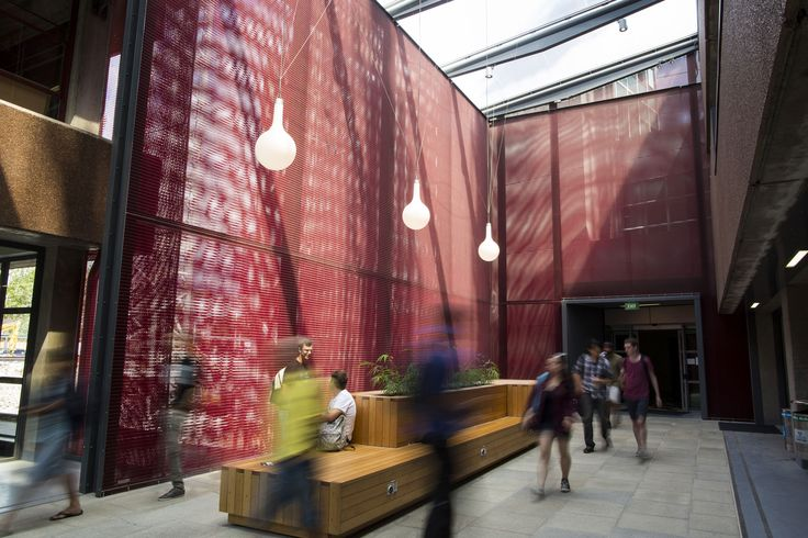 Auckland University Atrium, New Zealand uses Kaynemaile-Armour architectural mesh system. www.kaynemaile.com