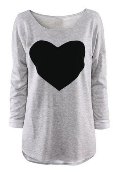 Light Grey Round Neck Long Sleeve Heart Print T-Shirt pictures