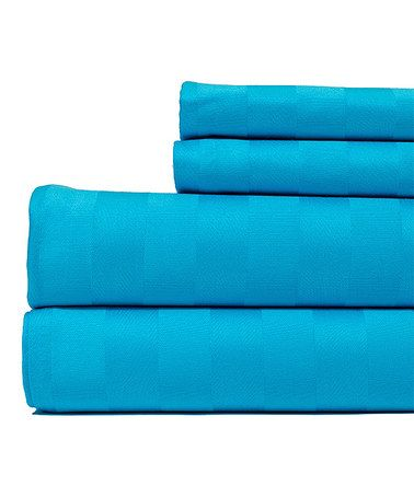 Loving this Aqua Blue Damask Stripe Egyptian Cotton Sheet Set on #zulily! #zulilyfinds