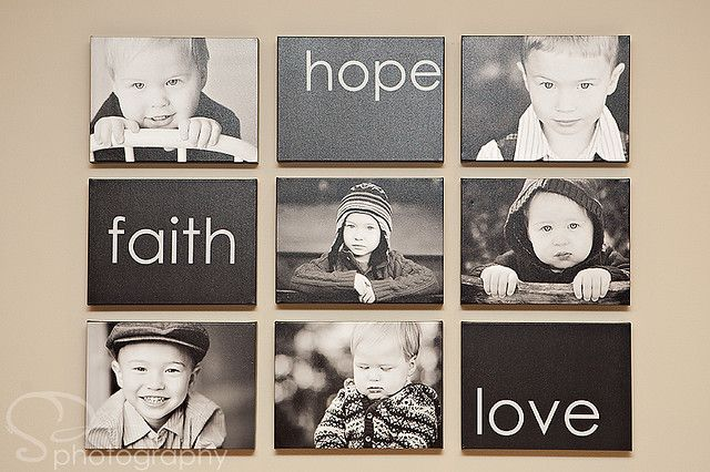 Great way to display photo canvases with word art canvases. We love printing black and white photos here at Canvas Press.