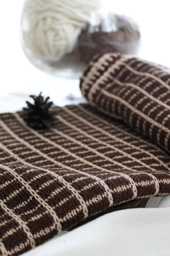Baby blanket Knit beige brown afghan Gift for New by MarumaKids
