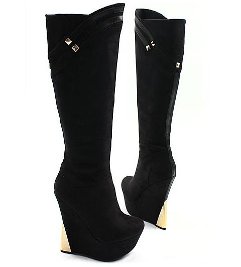 [SHOESONE.BIZ] 5019  Gold Stud & Heel Hidden Wedge Suede Boots (14.5cm)