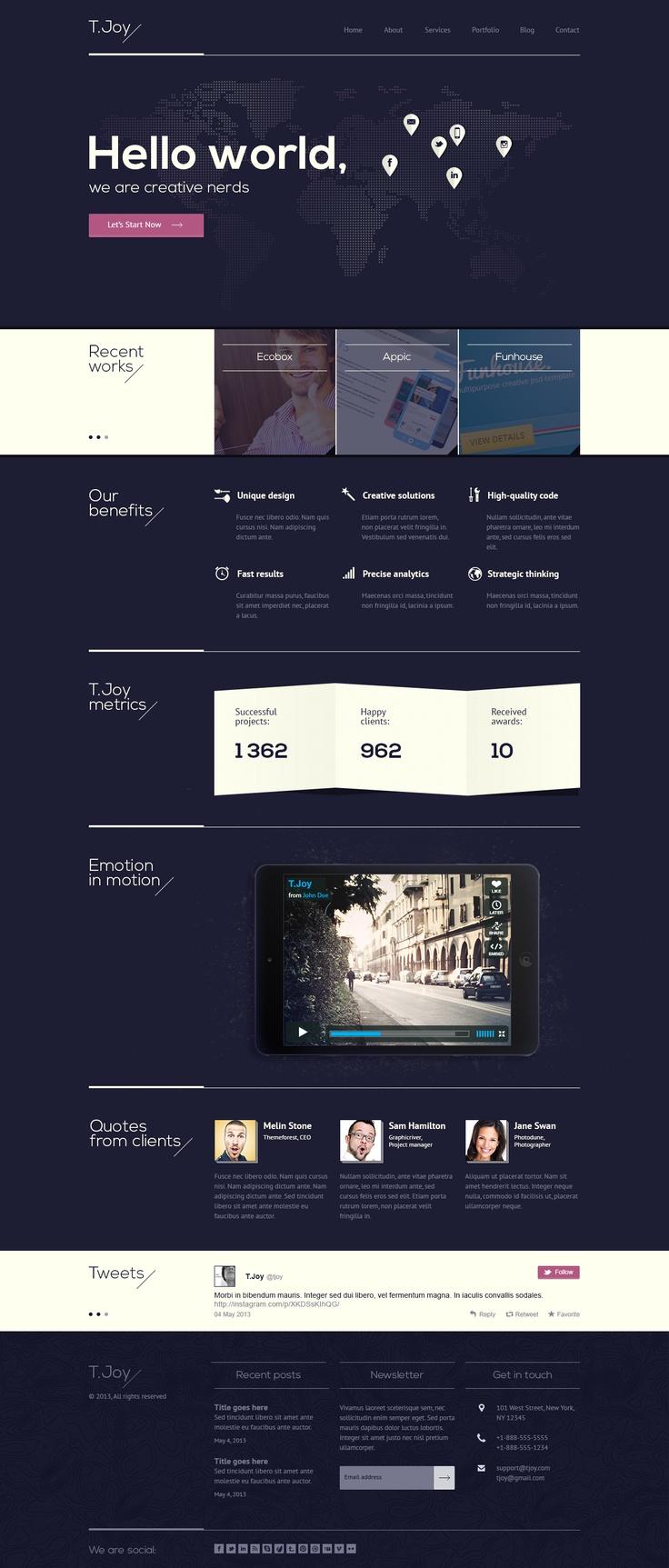 T Joy Flat Multipurpose Psd Template Web Design