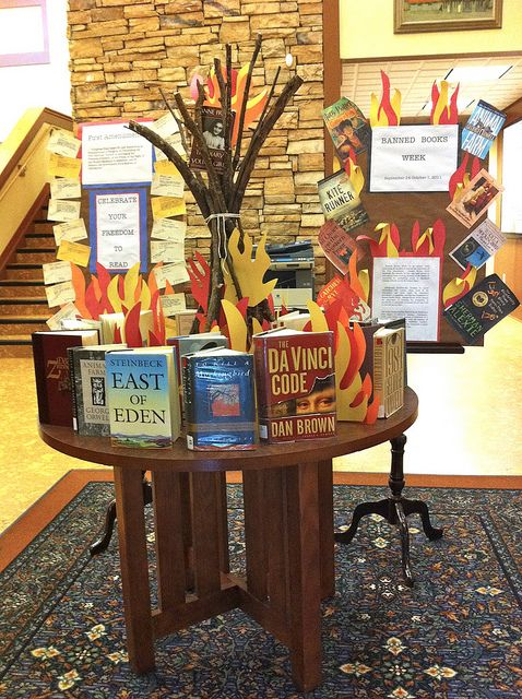 Great Banned Books Week display from the Woodstock Public Library.