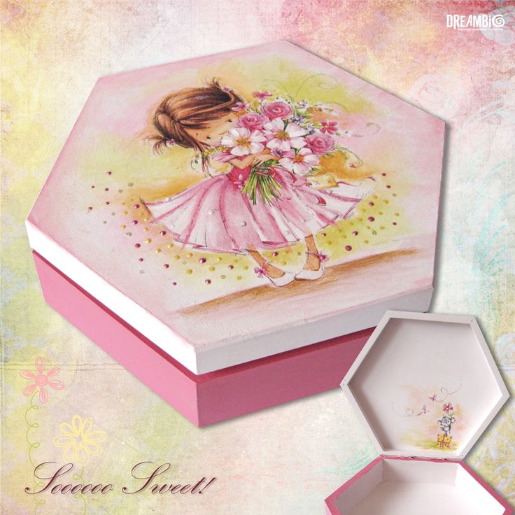 wooden decoupased box, little princess, storage box