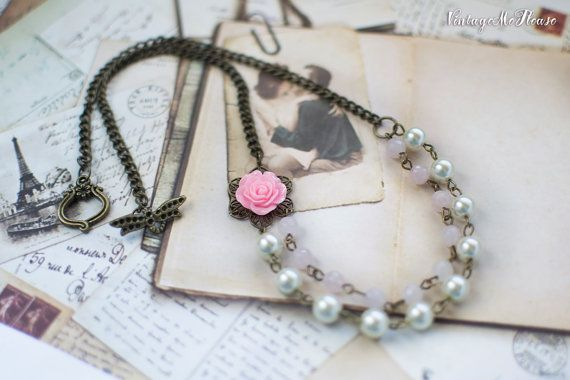 Bridesmaids Necklace Flower Girl Gift Shabby by VintageMePlease