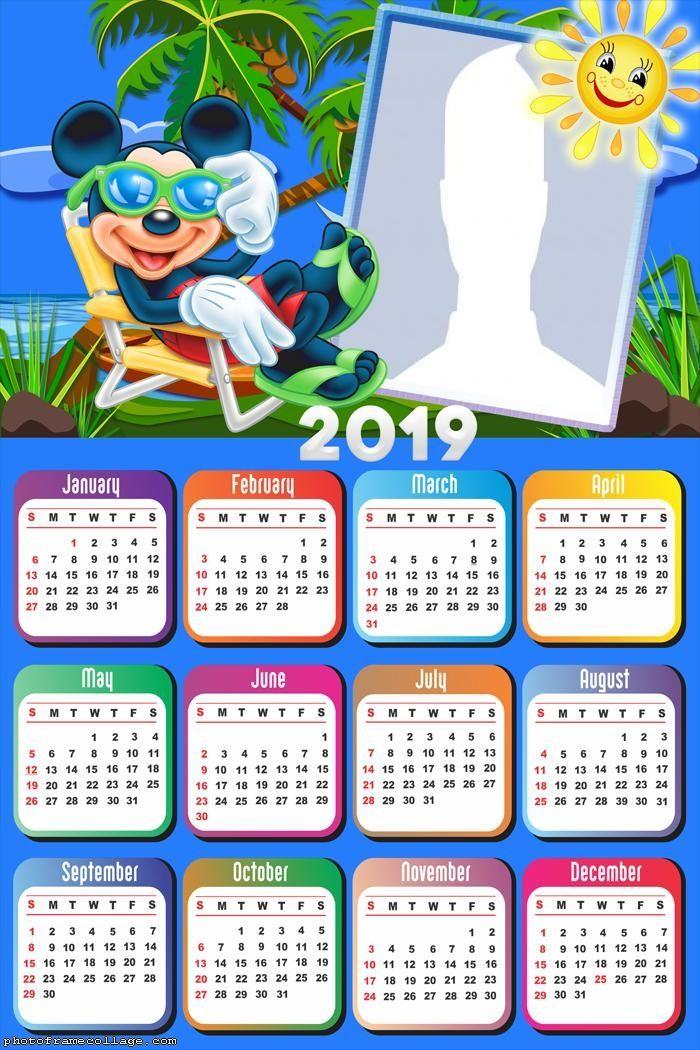 Mickey Vacation Calendar 2019 Frame Photo Montage Free