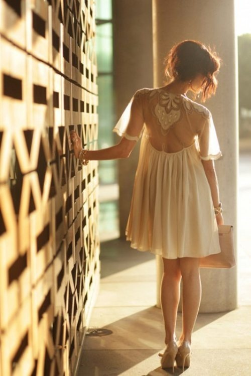 lace sheer back nude dress