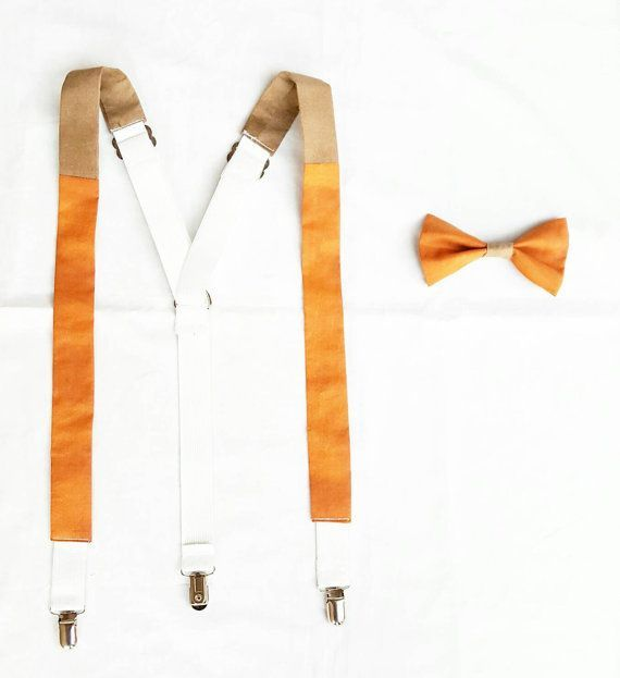 Burnt Orange Wedding Suspenders Set Pumpkin Bow Tie by GeekFashionSource