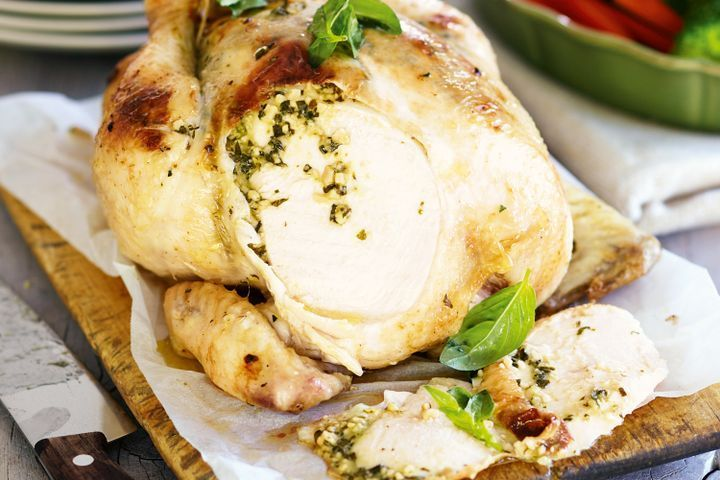 Slow-cooker chicken with pesto butter