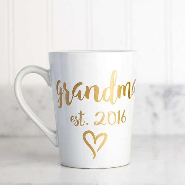 "The perfect gift for any new grandmother, or a great way to surprise a grandmother-to-be with the news! This 15 oz white porcelain mug features the ""grandma"" with any est. year of your choice, in our"