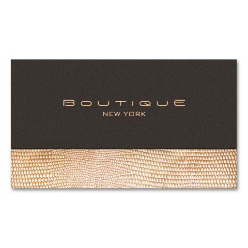 Peau de serpent d'or et boutique de mode de suède carte de visite standard