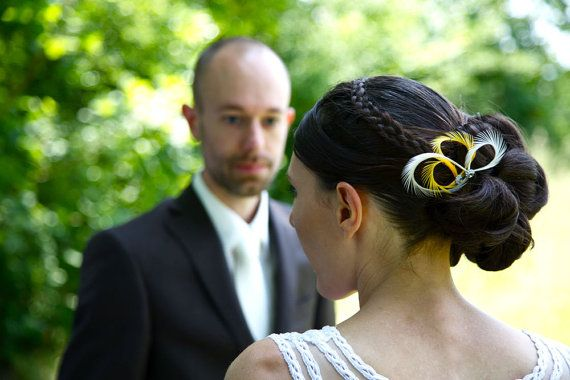 Celine and our bridal feather hair pins, lovely combination of mustard yellow and ivory color or white color. Custom color to match your wedding dress!