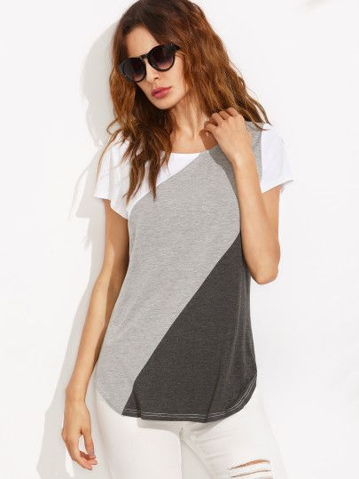 Color Block Dolphin Hem Short Sleeve T-shirt