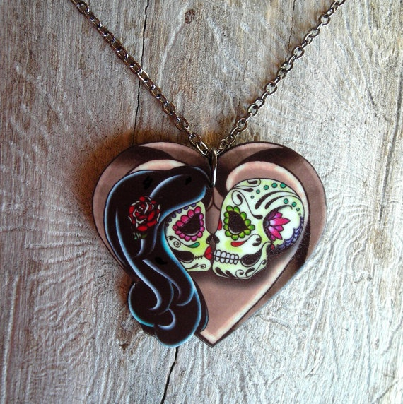 #Etsy #handmade #tattoo #sugar #skull #necklace #love $19.95 @theringleader  This artist Pretty in Ink on Etsy has amazing colorful tattoo inspired rockstar creations
