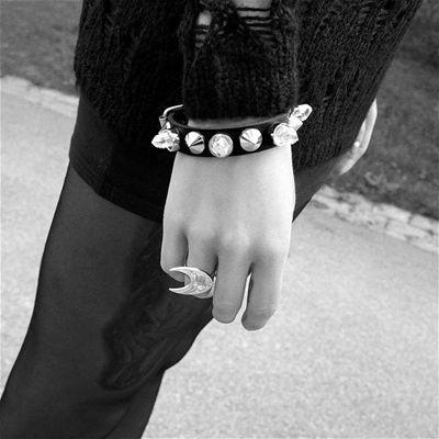 Crystal studded bracelet. Feminine and edgy.